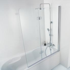 HSK Premium Softcube Badewannenaufsatz Drehfalttür 2-teilig ESG klar hell mit Edelglas / chrom optik
