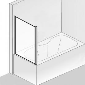 HSK Premium Softcube Seitenwand für Badewannenabtrennung ESG klar hell / chrom optik