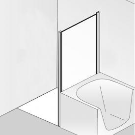 HSK Premium Softcube Seitenwand verkürzt für Drehtür mit Festfeld ESG klar hell / chrom optik
