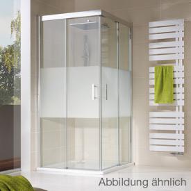 HSK Solida Schiebetür Eckeinstieg, asymmetrisch, bodenfrei klar hell Edelglas / chrom, WEM 118,5-120,5