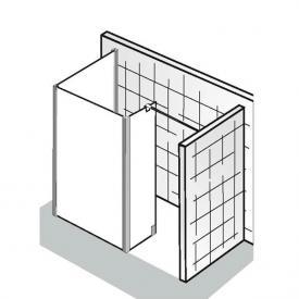HSK Walk In Atelier Frontelement mit Seitenteil und Seitenwand ESG klar hell mit Edelglas / chrom optik