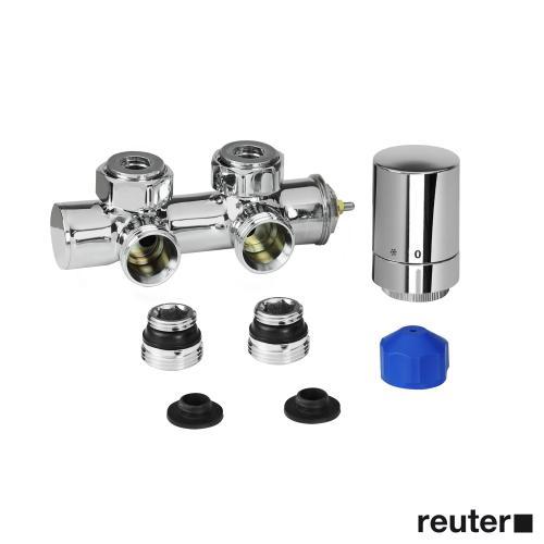 HSK Anschluss-Set inkl. Design-Thermostatregler, Mittelanschluss Wand