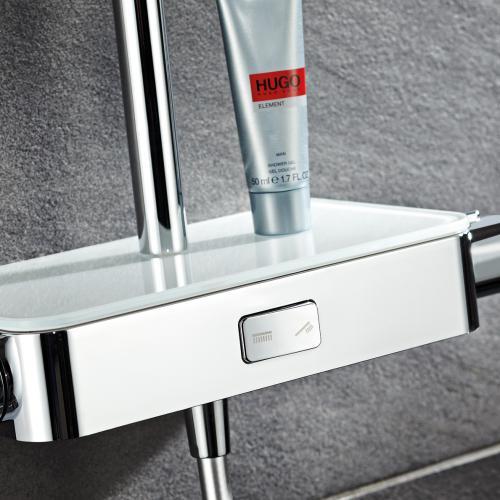 HSK AquaSwitch RS 500 Thermostat Shower-Set mit Kopfbrause B: 400 H: 8 T: 400 mm Glasfarbe weiß