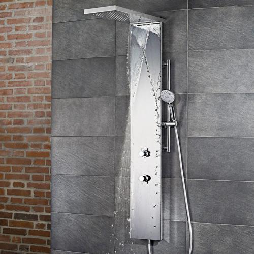 HSK Duschpaneel Lavida Plus B: 250 H: 2220 T: 670 mm, mit Schwallfunktion edelstahl poliert/Glasfront weiß