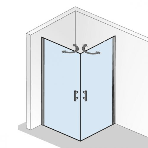 HSK Favorit Nova Pendeltür Eckeinstieg, asymmetrisch klar hell / silber matt