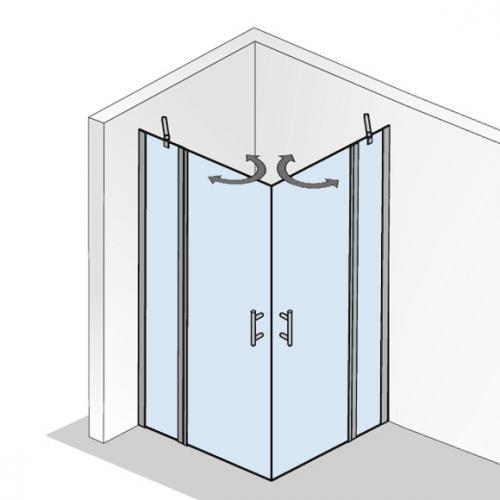 hsk favorit nova pendelt r eckeinstieg mit festteil asymmetrisch klar hell silber matt. Black Bedroom Furniture Sets. Home Design Ideas