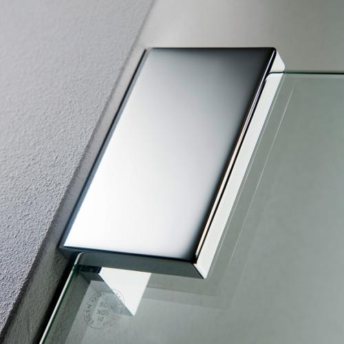 HSK K2 Drehtür mit Seitenwand klar hell / chrom