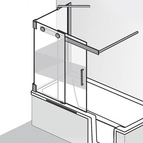 HSK K2P Badewannenaufsatz Gleittür, 2-teilig + Seitenwand ESG mittig mattiert / chrom