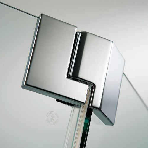 HSK K2P Drehtür Fünfeck klar hell / chrom, WEM 88,5-90,5 cm