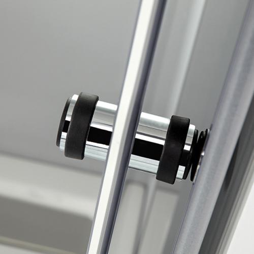 HSK K2P Gleittür m. Drehfalttür,2-teilig + Seitenwand ESG mittig mattiert / chrom