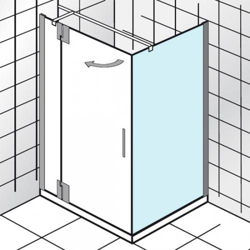 HSK K2P Seitenwand für Drehtür an Festteil angeschlagen klar hell / chrom, WEM 73,5-75,5 cm