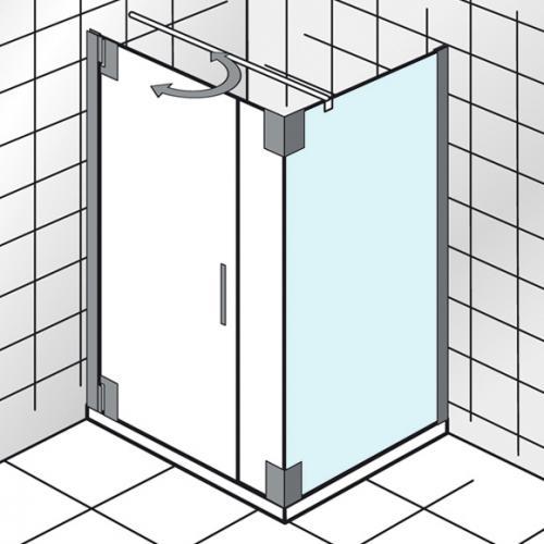 HSK K2P Seitenwand für Drehtür an Wand angeschlagen, mit Festteil an Seitenwand klar hell / chrom, WEM 73,5-75,5 cm