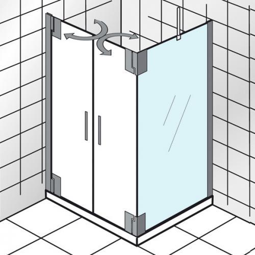 HSK K2P Seitenwand für Pendeltür klar hell / chrom, WEM 73-5-75-5 cm