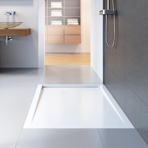 hsk rechteck duschwanne mit schmaler ablaufrinne super flach wei ablaufabdeckung wei. Black Bedroom Furniture Sets. Home Design Ideas