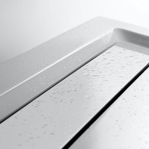 HSK Rechteck Duschwanne mit integrierter Ablaufrinne, super-flach weiß, Rinnenabdeckung weiß
