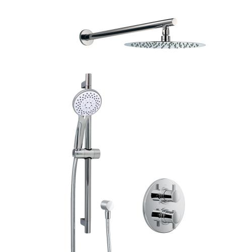 HSK Shower Set 1.05 mit Unterputz-Thermostat, Kopfbrause Ø 250 H: 2 mm, Wandarm