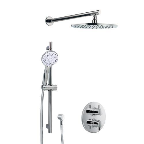 HSK Shower Set 1.05 mit Unterputz-Thermostat, Kopfbrause Ø 250 H: 8 mm, Wandarm
