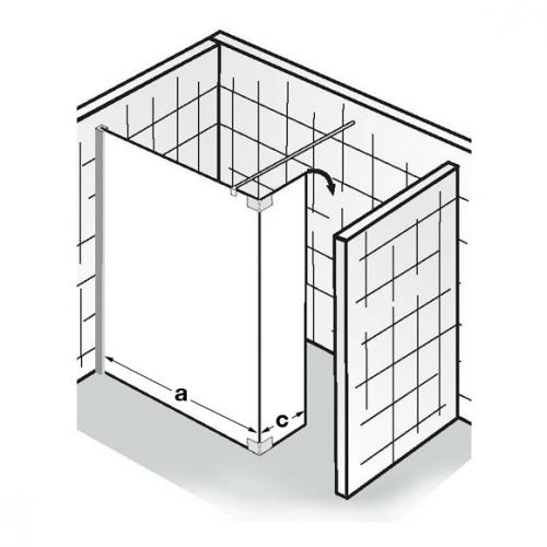 HSK Walk In Atelier Frontelement +schwenkbarem Seitenteil Echtglas, klar hell / chromoptik