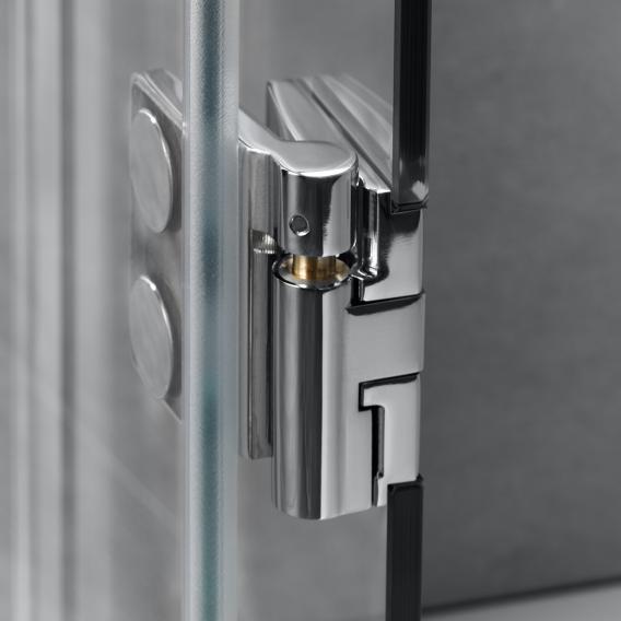 HSK Aperto Drehtür pendelbar an Nebenteil ESG mittig mattiert mit Edelglas / chrom optik