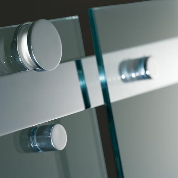 HSK Atelier Pur Schiebetür 2-teilig mit Seitenwand an Festelement ESG klar hell / chrom optik