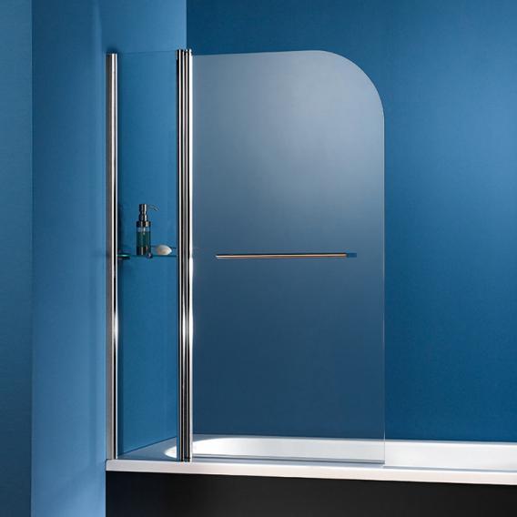 HSK Exklusiv Badewannenaufsatz Pendeltür 2-teilig mit Handtuchhalter und Glasablage ESG klar hell mit Edelglas / chrom optik