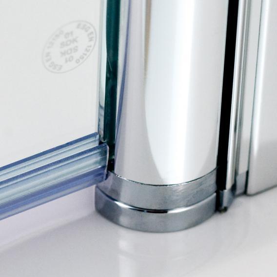 HSK Exklusiv Drehfalttür Eckeinstieg ESG klar hell mit Edelglas / silber matt