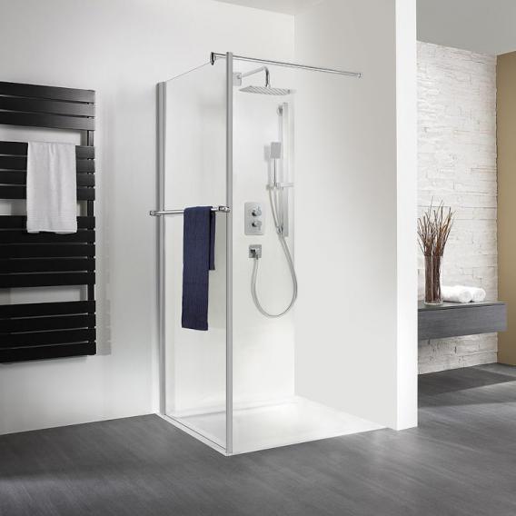 HSK Exklusiv Seitenwand mit Handtuchhalter für Drehtür ESG klar hell / silber matt