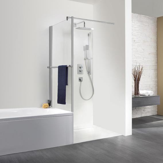 HSK Exklusiv Seitenwand für Drehtür mit Handtuchhalter kurz ESG klar hell / silber matt