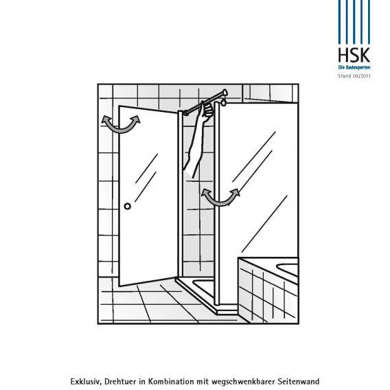 HSK Exklusiv wegschwenkbare Seitenwand ESG klar hell / chrom optik