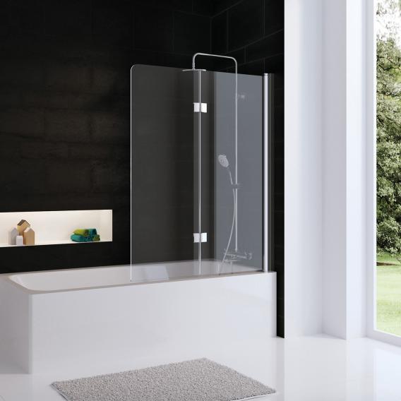 HSK Favorit Nova Badewannenaufsatz Drehfalttür ESG klar hell / silber matt