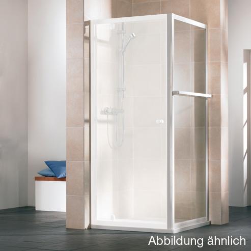 HSK Favorit Seitenwand kurz Kunstglas Tropfen hell / silber matt