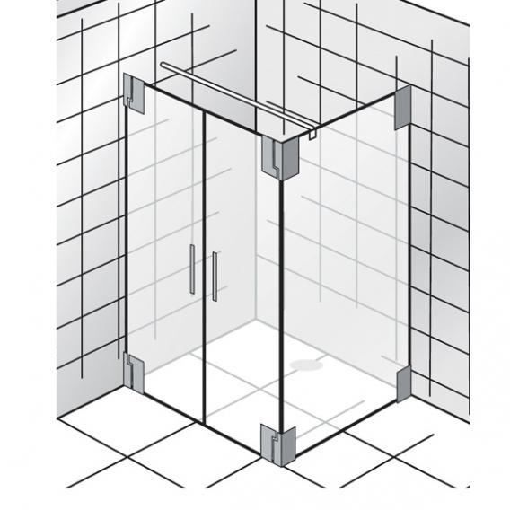 HSK K2 Pendeltür mit Seitenwand klar hell / chrom