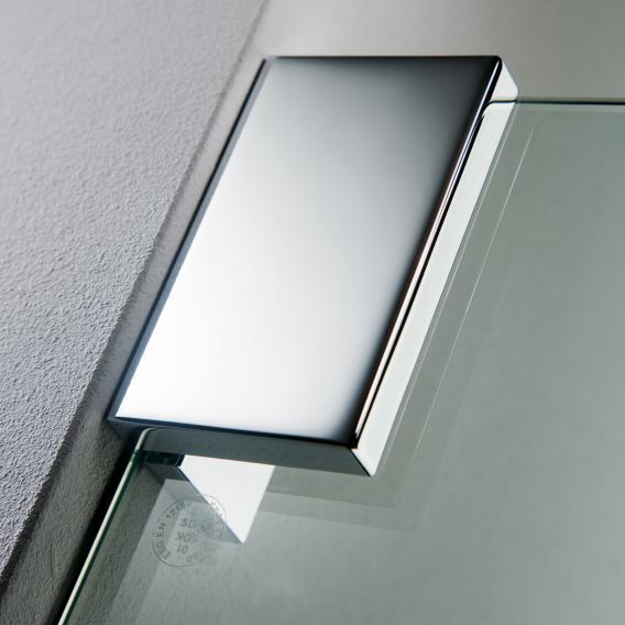 HSK K2 Schiebetür mit Seitenwand klar hell / chrom optik