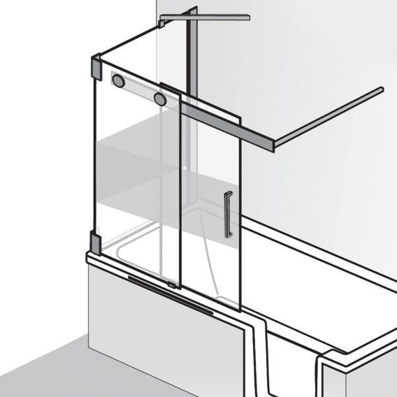 HSK K2P Badewannenaufsatz Schiebetür, 2-teilig + Seitenwand ESG mittig mattiert / chrom