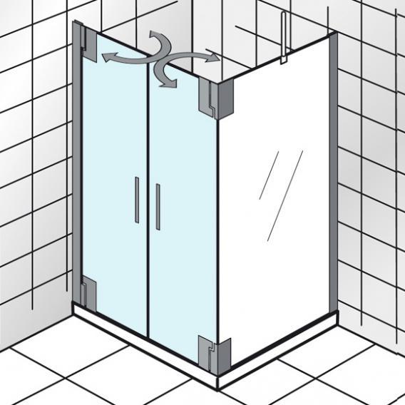 HSK K2P Pendeltür für Seitenwand klar hell / chrom, WEM 74,5-75,5 cm