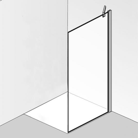 HSK K2P Seitenwand für Drehtür ESG klar hell mit Edelglas / chrom optik