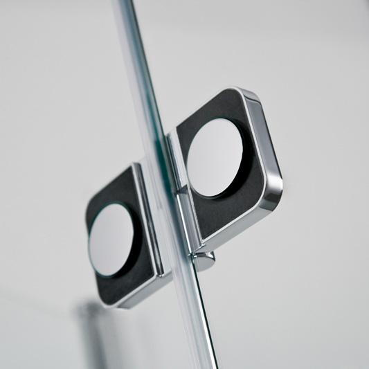 HSK Premium Softcube Drehtür mit Festfeld und Nebenteil in Nische ESG klar hell / chrom optik