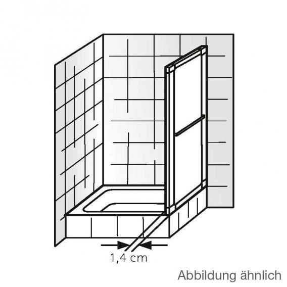 HSK Prima Seitenwand Kunstglas Tropfen hell / silber matt