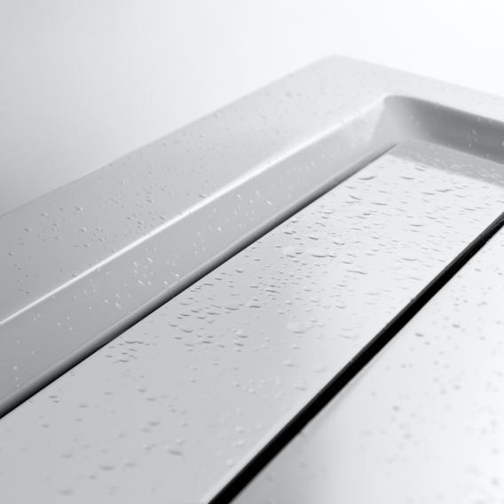 HSK Rechteck Duschwanne mit schmaler Ablaufrinne, super flach weiß, Ablaufabdeckung weiß