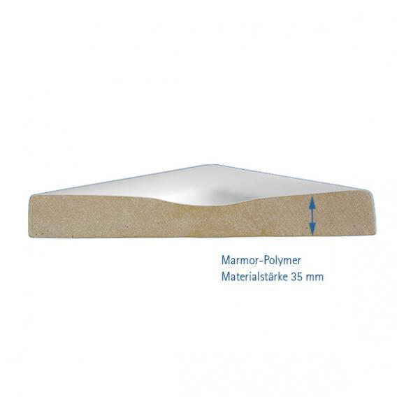 HSK Marmor-Polymer Rechteck-Duschwanne, plan weiß