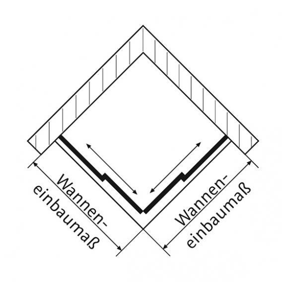 HSK Solida Schiebetür Eckeinstieg, bodenfrei ESG klar hell mit Edelglas / chrom optik