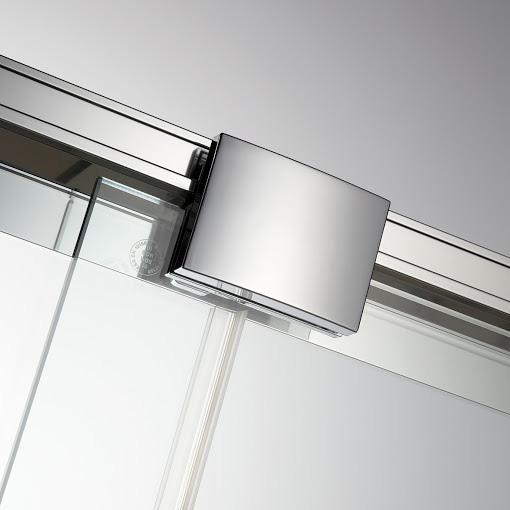 HSK Solida Schiebetür mit Festfeld, bodenfrei ESG klar hell mit Edelglas / silber matt