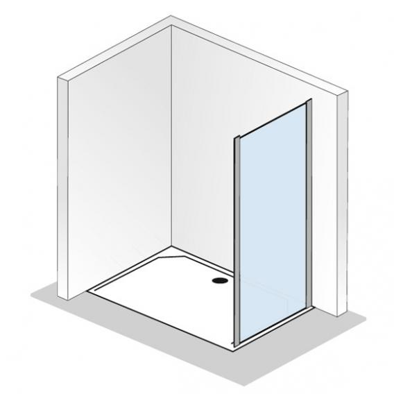 HSK Solida Seitenwand für Schiebetür mit Festfeld ESG klar hell mit Edelglas / silber matt