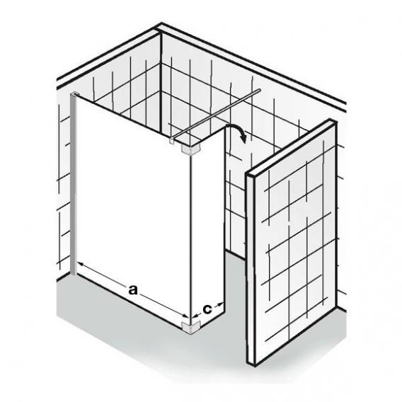 HSK Walk In Atelier Frontelement mit beweglichem Seitenteil ESG klar hell mit Edelglas / chrom optik