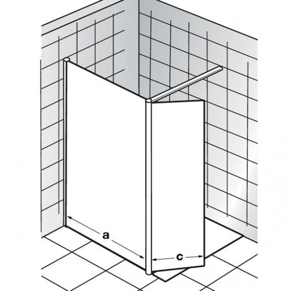 HSK Walk In Easy 1 Frontelement mit schwenkbarem Seitenteil ESG klar hell mit Edelglas / silber matt