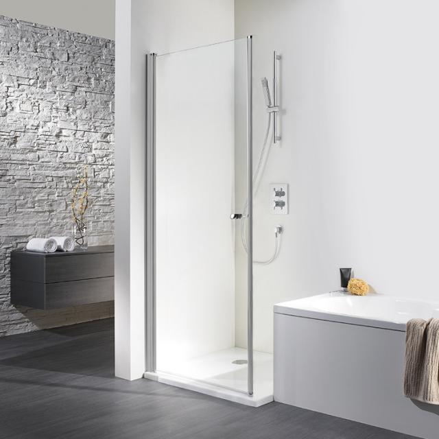 HSK Exklusiv Drehtür für wegschwenkbare Seitenwand ESG klar hell mit Edelglas / silber matt