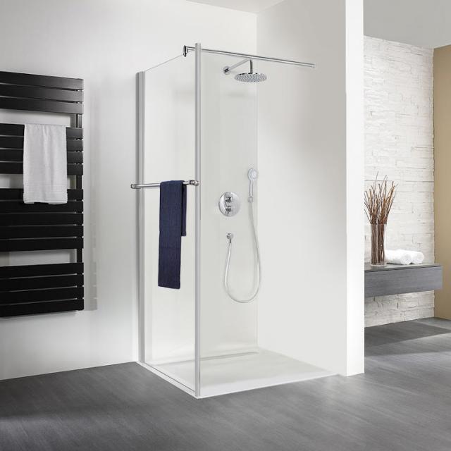HSK Exklusiv Seitenwand mit Handtuchhalter für Pendeltür ESG klar hell mit Edelglas / silber matt