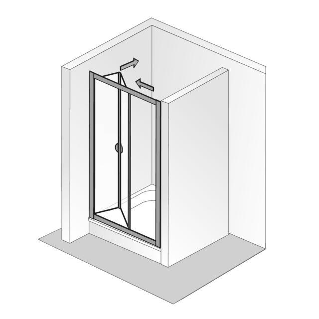 HSK Favorit Falttür 2-teilig ESG klar hell mit Edelglas / silber matt