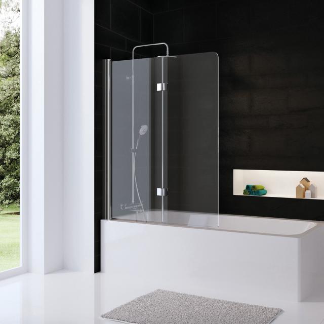 HSK Favorit Nova Badewannenaufsatz Drehfalttür 2-teilig ESG klar hell mit Edelglas / chrom optik