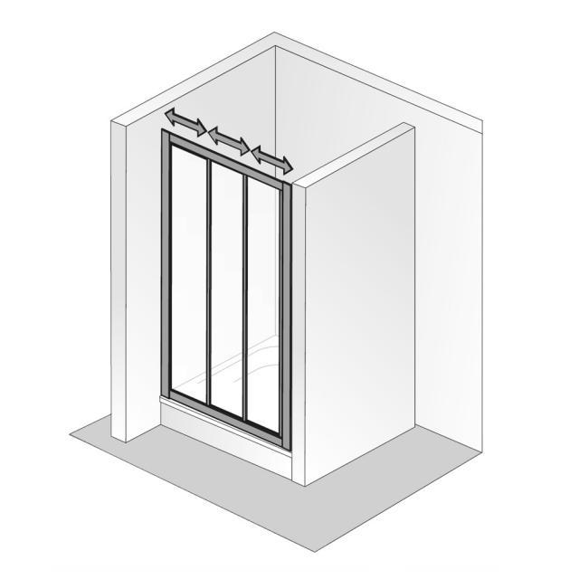 HSK Favorit Schiebetür 3-teilig Kunstglas tropfen hell / silber matt